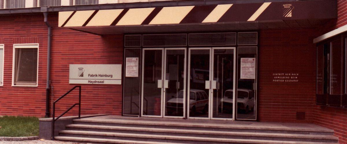 Eingang zur Tabakfabrik Hainburg, April 1983